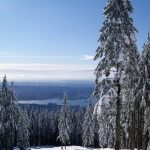 Skiing down the hills at Grouse Mountain