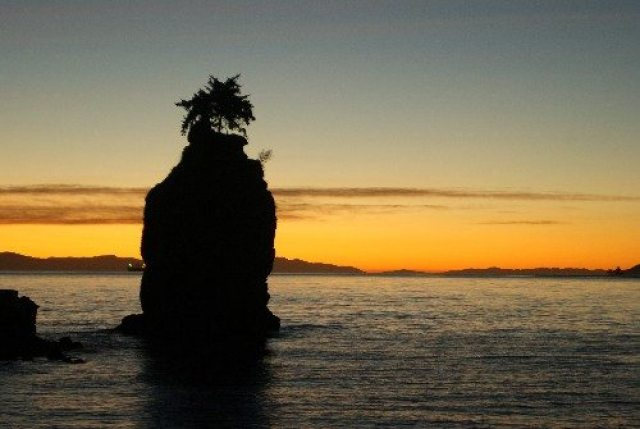 Sunset at Siwash Rock in Stanley Park