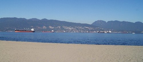 View of English Bay and North Shore Mountains from Jericho Beach