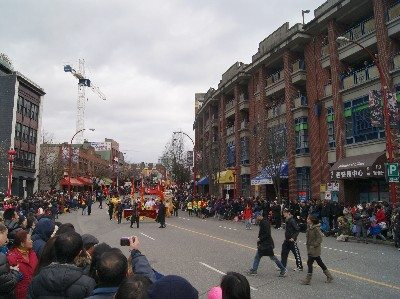 Chinatown's Keefer Street during the Chinese New Year parade