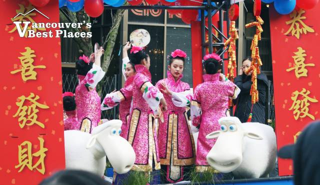 Girls on Chinese Parade Float