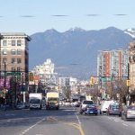 Main Steet with North Shore mountains in the background
