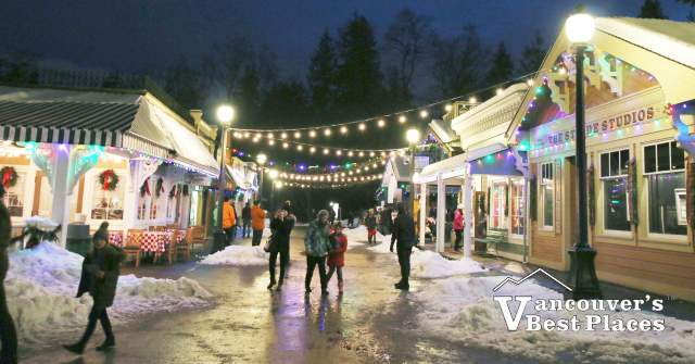 Snowy Burnaby Village Christmas Scene