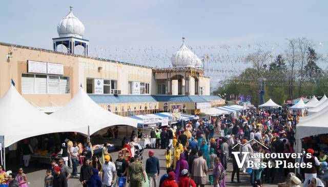 Vaisakhi Crowds Outside Sikh Temple