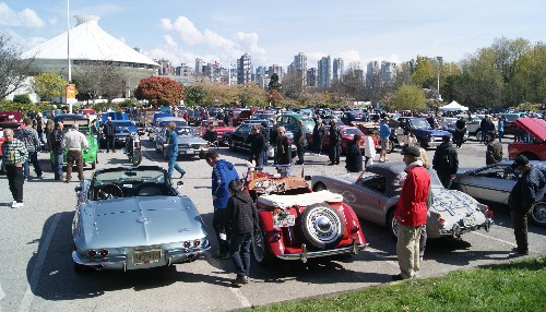Red Antique Ford at Vancouver Car Rally