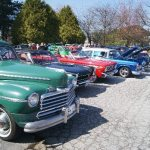 Row of Vintage Cars at Rally