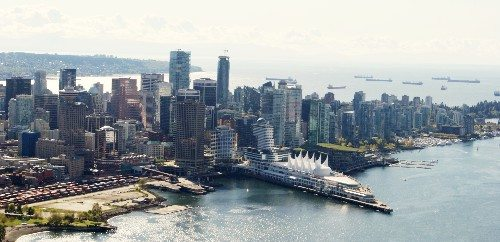 Downtown Vancouver Aerial Skyline