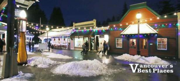 Burnaby Village at Christmas with Snow