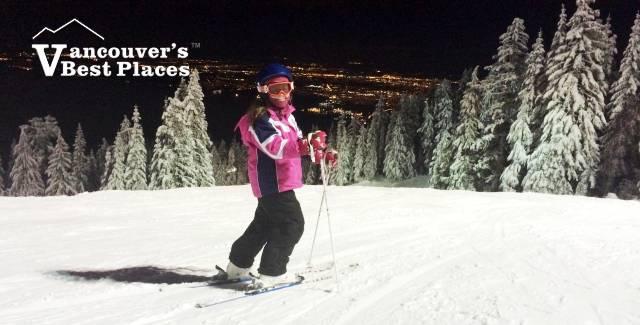 Girl Night Skiing at Grouse