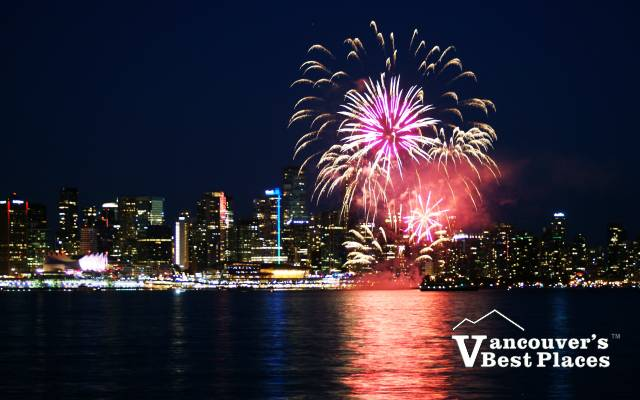 Fireworks Bursting Over Coal Harbour