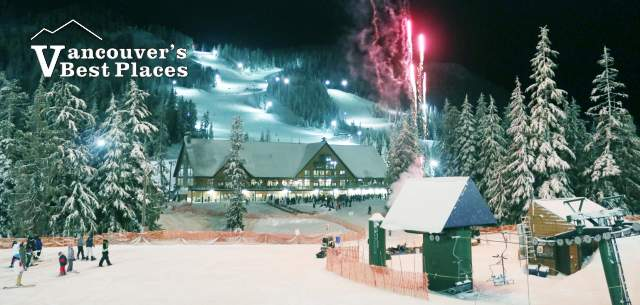 Cypress Mountain at Night with Fireworks