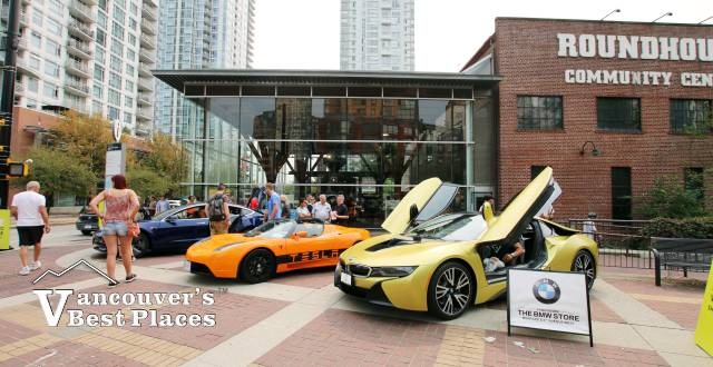 Tesla and BMW Electric Cars at the Roundhouse