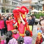 Children and Chinese Lion at Wesbrook Village