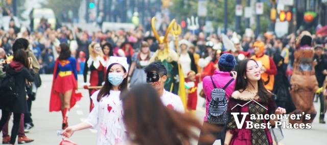 Crowds at Vancouver Halloween Parade