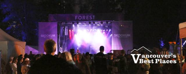 Skookum's Forest Stage at Night