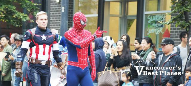 Superheroes at Vancouver Halloween Parade