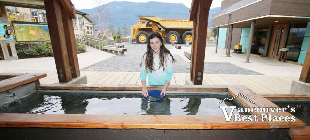 Girl Gold Panning at Britannia Mine