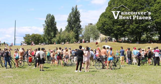 Naked Bike Ride Event at Sunset Beach