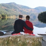 Couple at Hicks Lake in Sasquatch Park