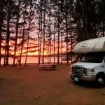 RV Camping and Evening Sunset