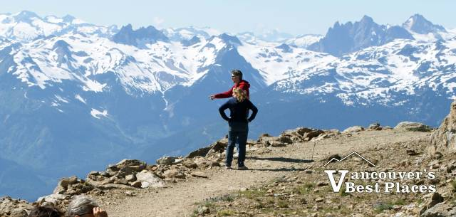 Whistler Inukshuk at the top of the mountainin summer