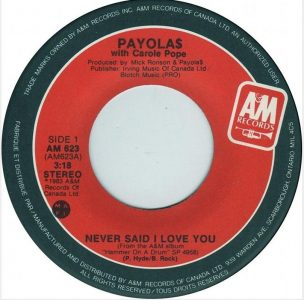 Never Said I Love You by Payola$ with Carol Pope
