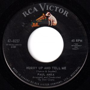 Hurry Up And Tell Me by Paul Anka