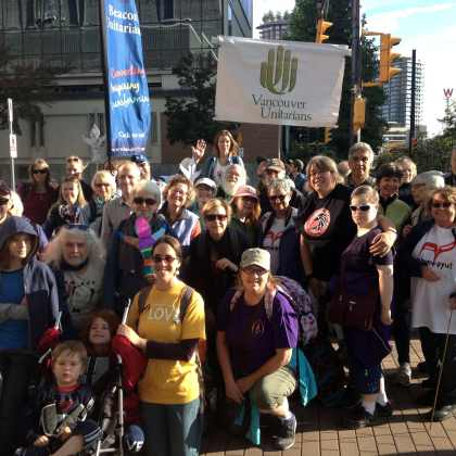 group photo of Unitarians at Walk for Reconciliation