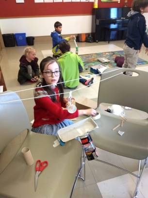 children make simple machines, rube goldberg style