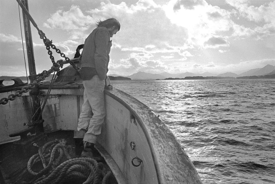 iconic photo of Greenpeace founder Bob Hunter aboard the Phyllis Cormack