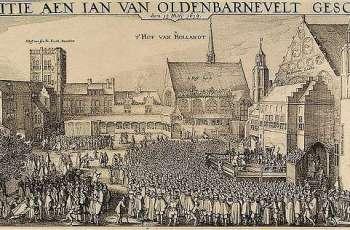 Terechtstelling van Van Oldenbarnevelt - Prent van Claes Jansz. Visscher (1586-1652)
