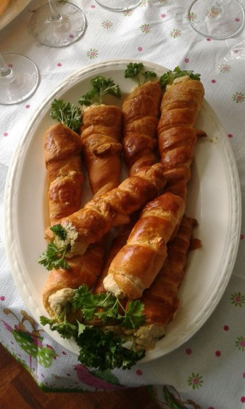Carrot croissants with egg salad in it made by mam and second dad
