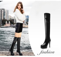 Woman-Black-Knee-High-Boots-Autumn-Street-Style-Thin-Heel-Concise-Design-Sexy-Lace-Studed-Decorated