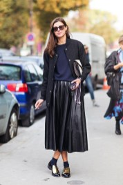 Le-Fashion-Blog-Street-Style-Leather-Pleated-Skirt-Celine-Gold-Oxfords-Paris-Fashion-Week-Via-Stockholm-Streetstyle