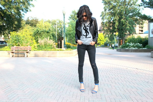 WoahStyle_com+-+YSL+tshirt,+Mackage+leather+jacket,+Distressed+Rag+&+Bone+jeans+and+Alexander+Wang+Antonia+sandals+in+Royal+street+style