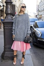 Le-Fashion-Blog-Blogger-Street-Style-Cat-Eye-Sunglasses-Oversized-Grey-Chunky-Sweater-Sequined-Chanel-Bag-Pink-Pleated-Skirt-Ballet-Inspired-Wrap-Heels-Via-The-Outfit