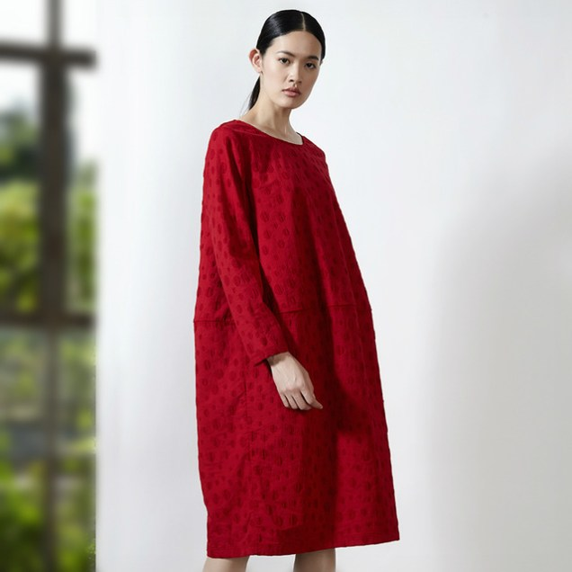 cocoon-style-women-dress-jacquard-process-long-sleeve-loose-waist-red-dress-o-neck-solid-color-jpg_640x640
