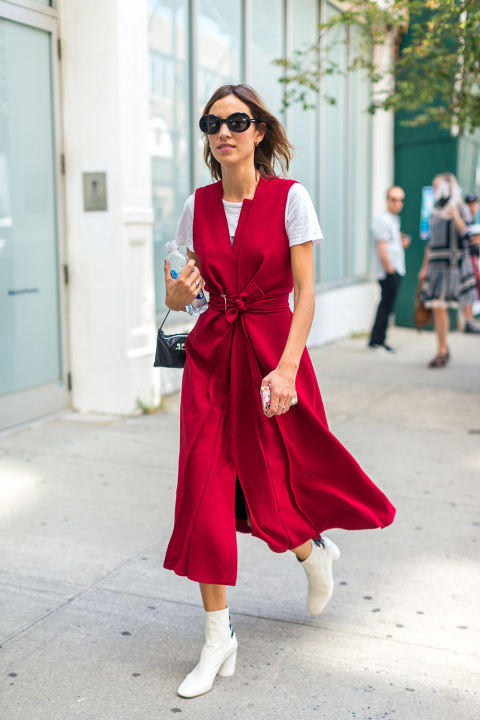 wrap-dress-red-white-boots-platform-mod-booties-nyfw-street-style-hbz-alexa-chung