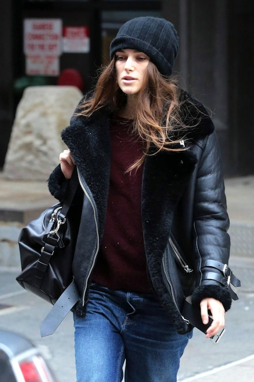 Le-Fashion-Blog-Winter-Style-Keira-Knightley-Black-Beanie-Leather-Shearling-Jacket-Maroon-Sweater-Via-WCM