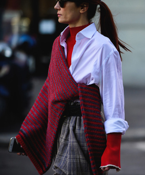 8vq9xe-l-610x610-sweater-tumblr-fashion+week+2017-streetstyle-stripes-striped+sweater-shirt-white+shirt-red--turtleneck-pants-printed+pants-baggy+pants-belt