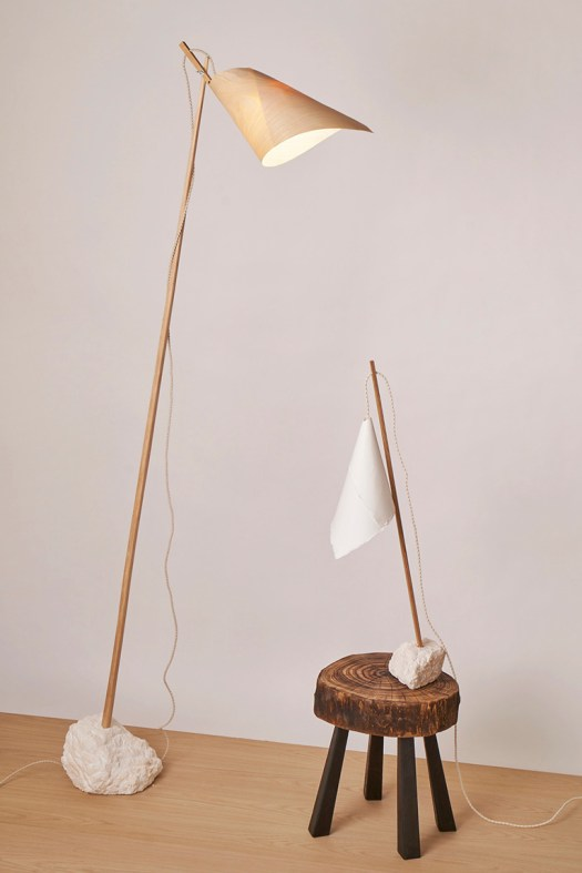 wood and paper lamps