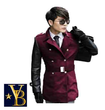 long burgundy coat with leather sleeves