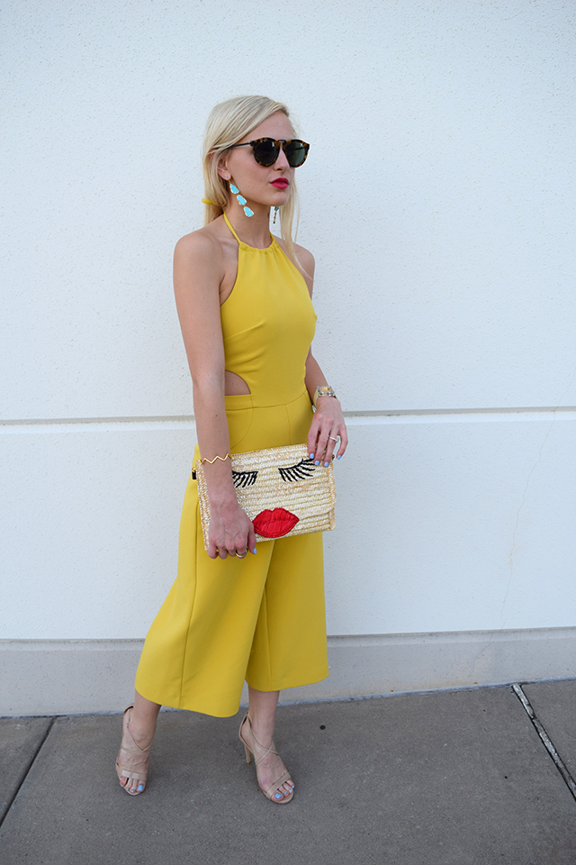 yellow-romper-turqiose-earrings