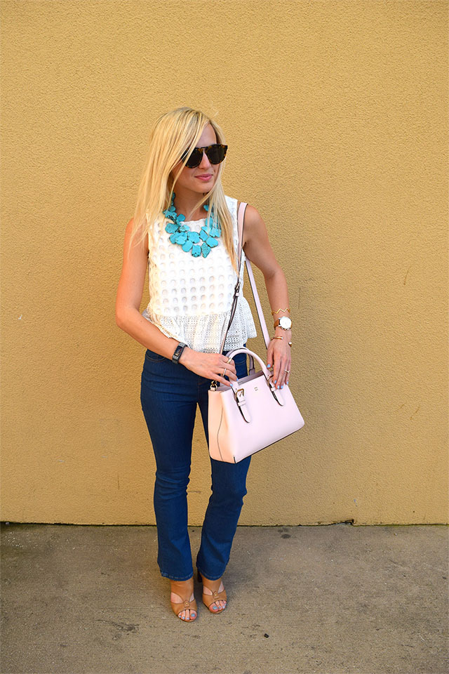 white eyelet peplum top