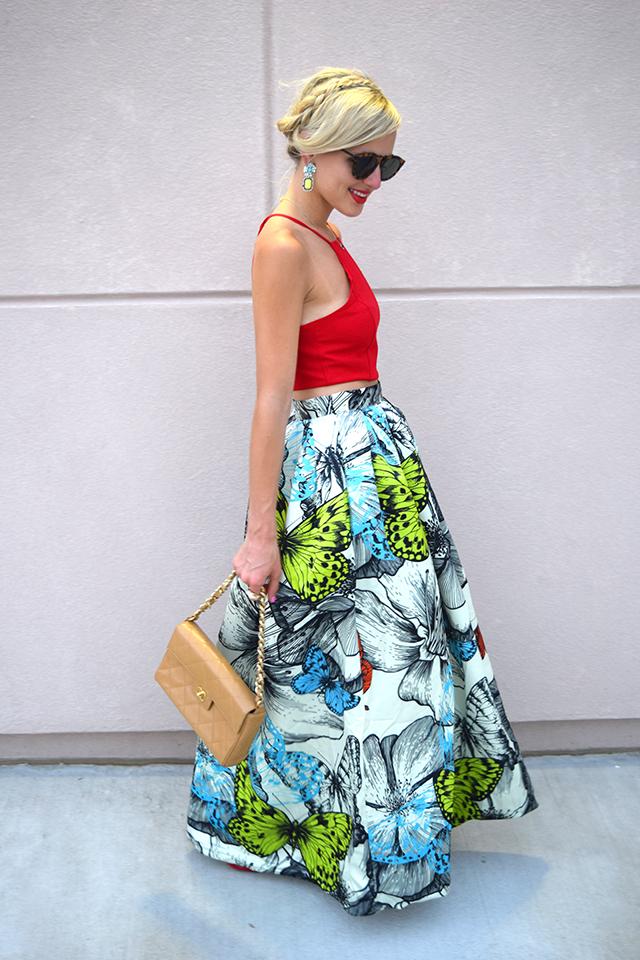 colorful full maxi skirt
