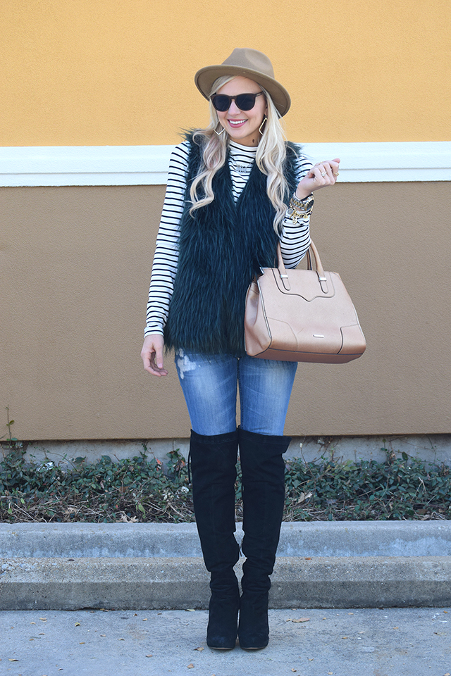 striped top fur vest