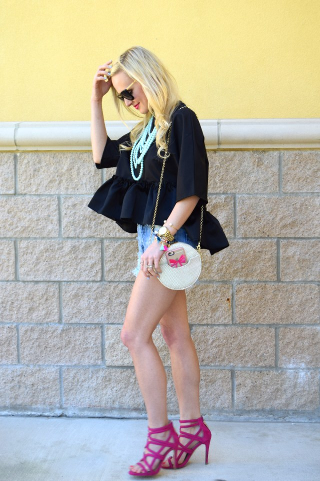 black peplum oversized top