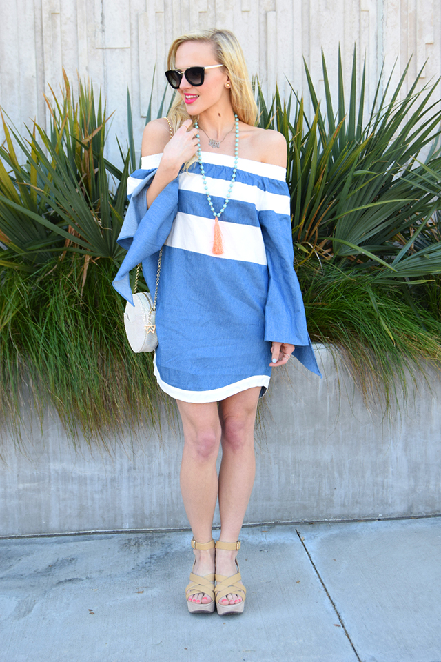 striped off shoulder chambray dress