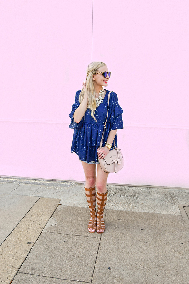 vandi-fair-blog-lauren-vandiver-dallas-texas-southern-fashion-blogger-goodnight-macaroon-lucille-blue-dotted-layered-sleeve-ruffle-top-vince-camuto-gladiator-sandals-amuse-society-cutoff-shorts-2