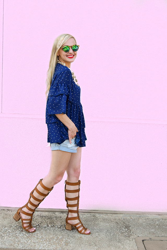 vandi-fair-blog-lauren-vandiver-dallas-texas-southern-fashion-blogger-goodnight-macaroon-lucille-blue-dotted-layered-sleeve-ruffle-top-vince-camuto-gladiator-sandals-amuse-society-cutoff-shorts-5